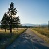 Road passing through field, British Columbia, Canada