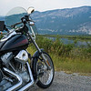 Motorcycle parked on road, British Columbia Highway 93, Invermere, British Columbia, Canada