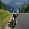 Motorcycle parked at roadside, New Denver, British Columbia, Canada