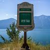 Close-up of Kootenay Landing Stop of Interest sign, Canadian Pacific Railway, Creston, British Columbia, Canada