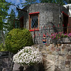 Glass bottle house and formal garden, Boswell Bottle House, Boswell, Kooteney Lake, British Columbia, Canada