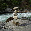 Stack of stones on rock, Riondel, British Columbia, Canada