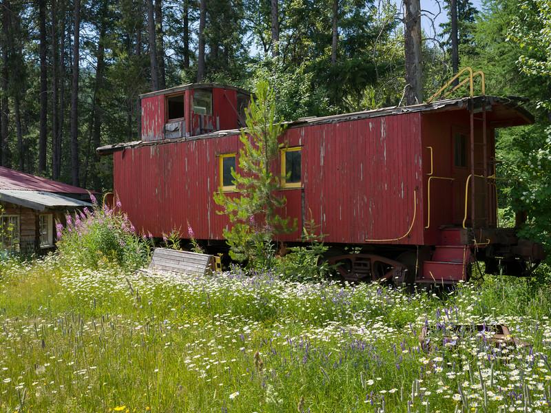 Abandoned Locomotive Caboose in forest, Cranbrook, British Columbia, Canada
