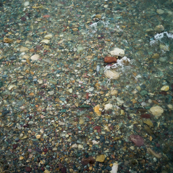 Elevated view of stones in water, Spillimacheen, British Columbia, Canada