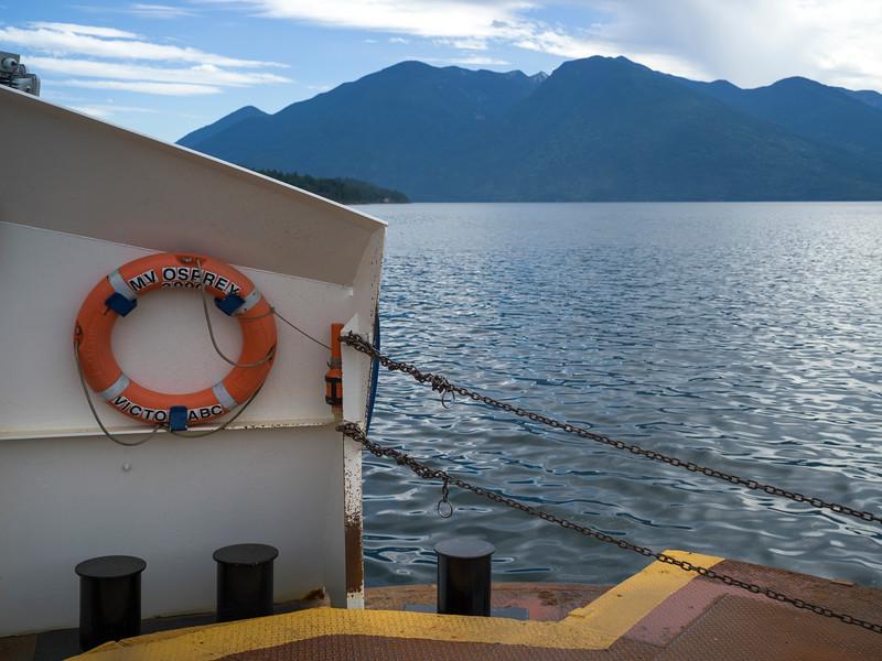 Boat moored at harbor, Gray Creek, British Columbia, Canada