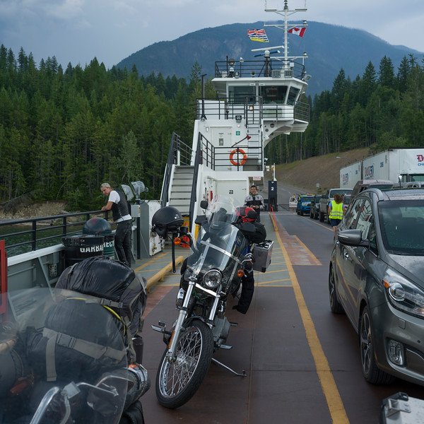 Vehicles waiting on bridge, British Columbia, Canada