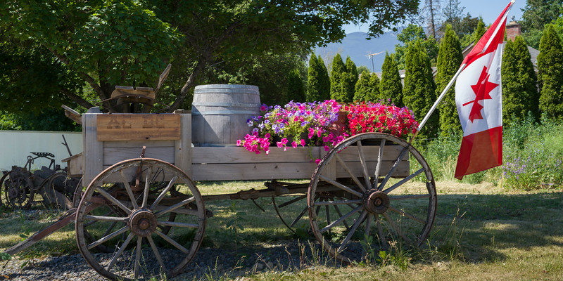 Old wagon with flowers and Canadian flag, Yahk, British Columbia, Canada