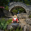 Garden gnomes in formal garden, Boswell Bottle House, Boswell, Kooteney Lake, British Columbia, Canada