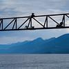 Scaffolding  with Gray Creek in the background, Lake Kooteney, British Columbia, Canada