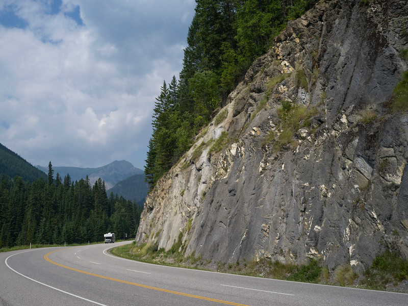 View of mountain road, Fairmont Hot Springs, British Columbia, Canada