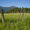 Fence in field with mountain in the background, British Columbia Highway 93, British Columbia, Canada