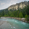 River flowing through forest, Kootenay River, East Kootenay G, British Columbia, Canada