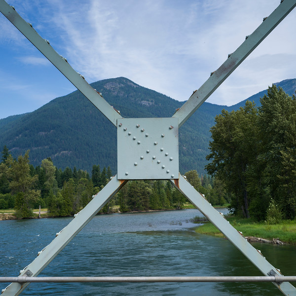 River and mountains seen from bridge, British Columbia, Canada