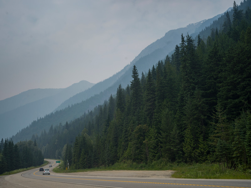 Vehicles moving on road, Revelstoke, British Columbia, Canada