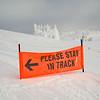 Warning sign in a ski resort, Sun Peaks Resort, Sun Peaks, British Columbia, Canada