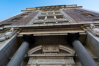 Low angle view of Union Bank Building, Victoria, Vancouver Island, British Columbia, Canada