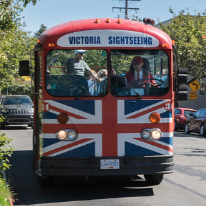View of tourist signtseeing bus, Victoria, Vancouver Island, British Columbia, Canada