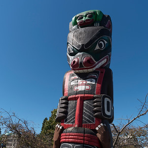 Low angle view of a totem pole, Victoria, Vancouver Island, British Columbia, Canada