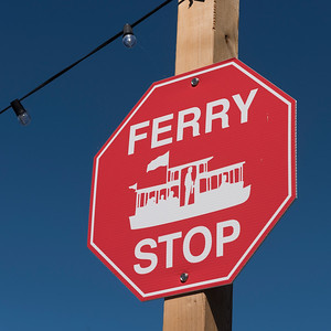 Low angle view of Ferry Stop sign, Fisherman's Wharf, Inner Harbour, Victoria, Vancouver Island, British Columbia, Canada