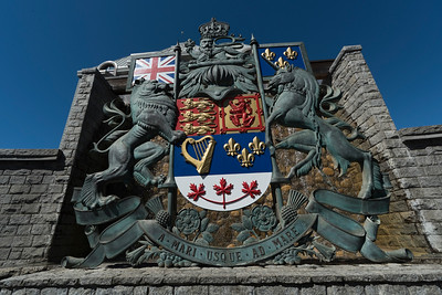 Low angle view of coat of arms, Victoria, Vancouver Island, British Columbia, Canada