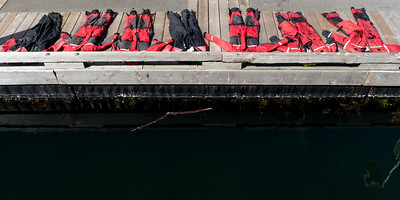 Elevated view of uniforms drying on dock, Inner Harbour, Victoria, Vancouver Island, British Columbia, Canada