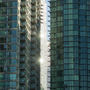 Modern glass buildings in downtown, Vancouver, British Columbia, Canada