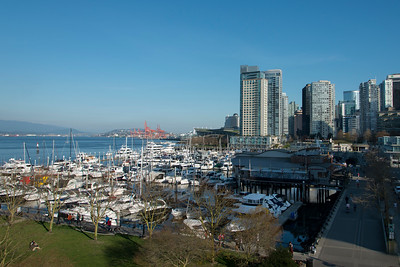 Boats at marina, Coal Harbour, Vancouver, British Columbia, Canada