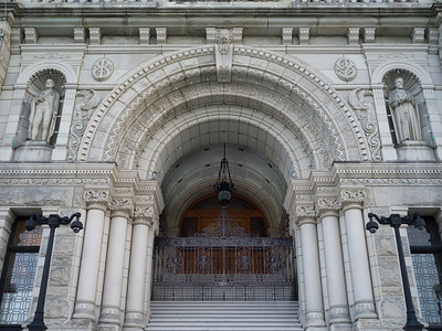 Entrance to the Victoria Legislature Building, Victoria, British Columbia, Canada