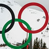 Close-up of Olympic symbol at ski resort, Whistler, British Columbia, Canada