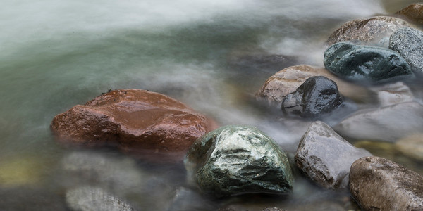View of rocks in river, Whistler, British Columbia, Canada