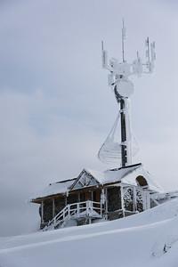 Communications tower at ski resort in winter snow, Whistler, British Columbia, Canada