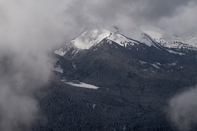 View of snowcapped mountains in winter, Whistler Mountain, British Columbia, Canada