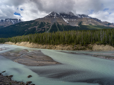 River passing through landscape, with mountains in the background, North Saskatchewan River, Icefields Parkway, Jasper, Alberta, Canada