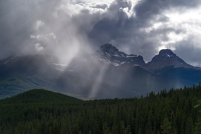 Clouds over mountain, Saskatchewan River Crossing, Icefields Parkway, Jasper, Alberta, Canada