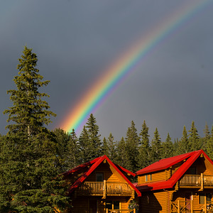 Rainbow formation in the sky, Yellowhead Highway, Jasper National Park, Jasper, Alberta, Canada