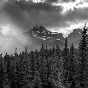 Clouds over pine forest and mountains, Saskatchewan River Crossing, Icefields Parkway, Jasper, Alberta, Canada