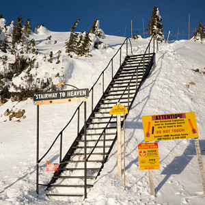 Stairway to heaven on snowy mountain,  Kicking Horse Mountain Resort, Golden, British Columbia, Canada