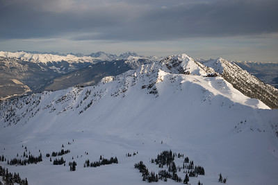 Snow covered mountains with valley in winter,  Kicking Horse Mountain Resort, Golden, British Columbia, Canada