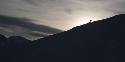 Silhouette of skier on mountain,  Kicking Horse Mountain Resort, Golden, British Columbia, Canada