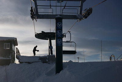 Ski lift platform in ski resort,  Kicking Horse Mountain Resort, Golden, British Columbia, Canada