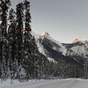 Snow covered roadway with mountain in winter, Emerald Lake, Yoho National Park, British Columbia, Canada