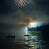 Canada Day firework display, Keewatin, Kenora, Lake of The Woods, Ontario, Canada