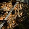 Firewood in rack, Kenora, Lake of the Woods, Ontario, Canada