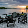 Adirondack chair on a dock, Kenora, Lake of the Woods, Ontario, Canada