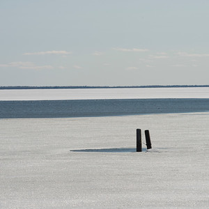 Frozen view of Lake Winnipeg, Hecla Grindstone Provincial Park, Manitoba, Canada