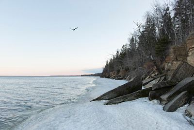 Snow at the lakeside, Lake Winnipeg, Hecla Grindstone Provincial Park, Manitoba, Canada
