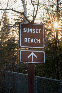 Sign board of Sunset Beach, Hecla Grindstone Provincial Park, Manitoba, Canada