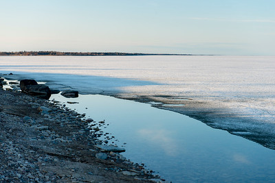 Frozen lake in winter, Lake Winnipeg, Hecla Grindstone Provincial Park, Manitoba, Canada