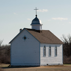 Church in a field, Manitoba, Canada