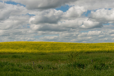 Clouds over a prairie landscape, Lake Audy Campground, Riding Mountain National Park, Manitoba, Canada